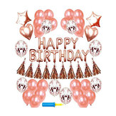48PCS Rose Gold Birthday Party Balloons Happy Birthday Letter Foil Balloon Decor