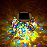 Jardim de vidro bola de energia solar mosaico colorido LED luz ao ar livre decoração da lâmpada à prova de água
