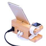 Bakeey Bamboo Multi Function Charger Dock para Apple Phone Watch