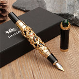 JINHAO Golden Dragon Heavy Fountain Pen Clip Medium Nib 18KGP Business Mænd Gaver