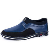 Men Microfiber Leather Splicing Non Slip Slip On Business Casual Shoes