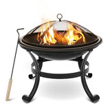 [US/ EU Direct] XMUND XM-CG1 22 Inch Steel Fire Pits Firepit With Mesh Screen Durability and Rustproof Fire Bowl BBQ Grill for Outdoor Wood Burning Camping Bonfire Garden Beaches Park