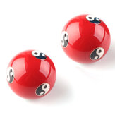 Chinois Cloisonne Baoding Balles Santé Exercice Relaxation Thérapie Stress Ying Yang Red Fitness Ball