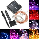 10M 100 LED Solar Powered Kobber Wire Ambiance String Fairy Light + 2m Down-lead