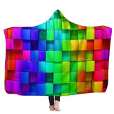 Warm 3D Colored Cubes Hooded Blankets Wearable Soft Towel Plush Mat For Adult Kid