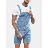 Big Pocket Retro Hole Denim Shorts für Herren Jumpsuit