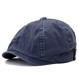 Men Women Washed Cotton Octagon Beret Hat