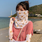 Women Sunscreen Outdoor UV Protection Ice Silk Sleeve Arm Guard Cover Face Ear Hanging Breathable Veil Mask