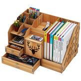 Ahşap Masaüstü Düzenleyici Çok Fonksiyonlu Çok katmanlı Depolama Rafları Dosya Kitapları Raf Depolama Kutu Kitaplık Kalemleri Kalem Tutucu