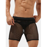 Mens Solid Color Mesh See Through Home Mid Waist Sleepwear Shorts
