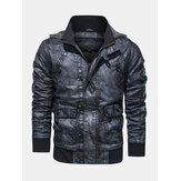 Mens Hooded Pocket PU Leather Motorcycle Jacket
