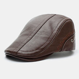 Men Faux Leather Solid Color Sunscreen Keep Warm Casual Forward Hat Beret Hat