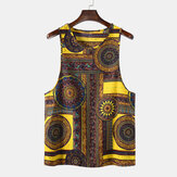 Mens 100% Cotton Summer Ethnic Floral Printed Sleeveless Ves