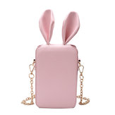 Women Cute Cartoon Rabbit Ear Chain Phone Bag Square Bag