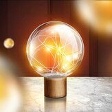 Qualitell 5V LED Warm White Fairy Star Globe Night Light Wood Retro USB Desk Table Decoration Lights