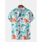 Dinosaur Cartoon Print Turn Down Collar Short Sleeve Shirts For Men Women
