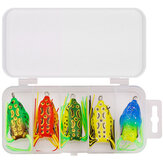 ZANLURE 5/15 Pcs Frog Fishing Lure Soft Artificial 3D Eyes Silicone Fishing Tackle Baits with Storage Box