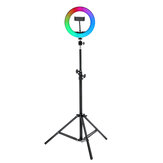 8/10inch 360° Adjustment RGB LED Ring Light Full Color LED Selfie Fill Light Phone Video Makeup Lamp Tripod for Photography Vlog Youtube Facebook Tiktok Live Broadcast