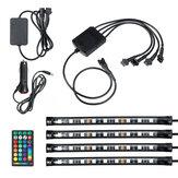 4PCS 9LED RGB Strip Lights Underglow Underbody Remote Control Διακοσμητικό δάπεδο ατμόσφαιρα λωρίδα εσωτερικού φωτισμού