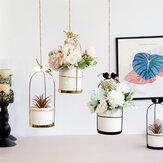 İskandinav Vazo Asılı Sepet Ferforje Saksı Asılı Demir Çerçeve Çiçek Hidroponik Saksı Modern Duvar Dekorasyonu Dekorasyon Standı