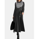 Women Polka Dot Print Patchwork Pleats Long Sleeve Maxi Dresses