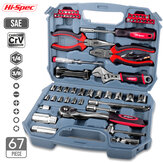 Hi-Spec 67pcs Hand Tool Set Metric Car Auto Repair Automotive Mechanics Tool Kit Home Garage Socket Wrench Tools with Tool Case
