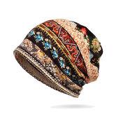 Женщины Хлопок Многоцелевой Цветочный Печати Шапка Шея Гетры Теплые Шляпы Лица Щит