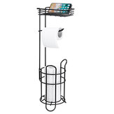 Bowin Multifunctional Large Capacity Storage Bathroom Toilet Tissue Paper Towel Rack Shelf Holder Free Standing with Mobile Phone Basket Tray
