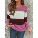 Women Casual Striped Color-Block O-Neck Long Sleeve Sweaters