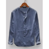 Mens Vintage Loose Comfy Solid Color Buttons Fly Long Sleeve Casual Henley Shirts