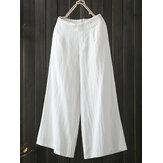Mulheres cintura elástica alta solta algodão perna larga Calças com bolsos