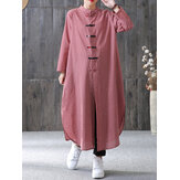 Women Plaid Plate Buckle Long Sleeve Casual Loose Chinese Style Shirt Dress