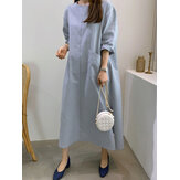 Cotton Split Hem Front Pocket Casual Loose Maxi Dress