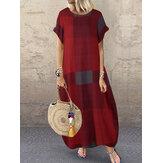 المرأة منقوشة قصيرة الأكمام طاقم الرقبة الجانب جيب فضفاض خمر فستان ماكسي طويل