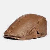 Hommes en cuir véritable solide classique décontracté chapeau avant béret
