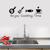Cartoon Enjoy Temps de cuisson Cuisine Sticker Mural PVC Murale Art Stickers Autocollants Fond Décor À La Maison