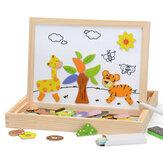 100 piezas de madera magnética rompecabezas figura animal vehículo circo dibujo tablero 5 estilos Caja rompecabezas juguete regalo
