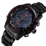 ASJファッションフルメタル防水スポーツスタイルメンズ腕時計デュアルディスプレイデジタル時計