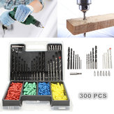 300pcs 2-10mm Drill Bit Set Twist Drill Building Drill with Expansion Screws for Wood Working