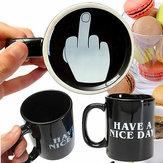 10oz presentes escritório dedo médio copos de café da novidade personalidade de cerâmica têm um dia agradável caneca