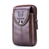 Bullcaptain Bag Men Genuine Leather Loop Belt Phone Bag