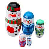 5 pçs / set natal de madeira russo bonecas de assentamento boneco de neve decorações de véspera para o presente do miúdo