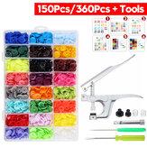 150 sztuk / 360 sztuk żywicznych plastikowych przycisków (15/24 kolorów) + 1 zestaw szczypiec do zaciskania