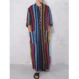 Heren vintage losse kaftan tops Heren lange gewaad loungewear casual t-shirts