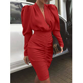 Women Solid Color V-neck Long Sleeve Zipper Bodycon Dress
