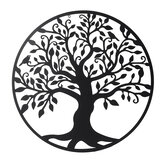 39in Black Tree of Life Metal Hanging Wall Art Round Sculpture Home Garden Decoration