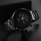 Deffrun A0546 Casual Style Men Wrist Watch Full Steel Calendar Quartz Watch