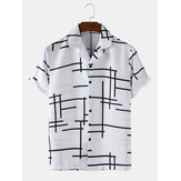メンズアブストラクトイレギュラーラインライトリビアカラールーズカジュアルショートスリーブシャツ