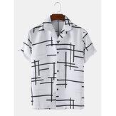 Mens Abstract Irregular lines Light Revere Collar Loose Casual Camisas de manga curta