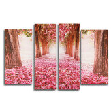 4Pcs Cherry Blossoms Tree Canvas Print Paintings Wall Decorative Print Art Pictures Frameless Wall Hanging Decorations for Home Office